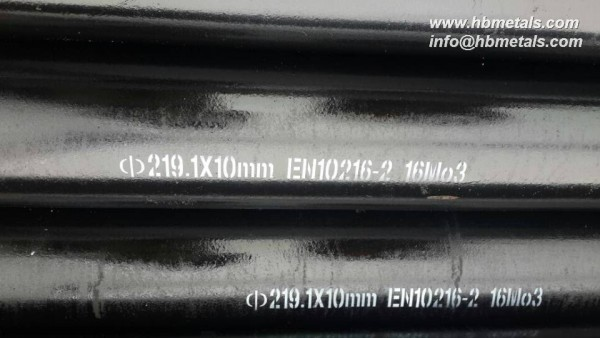 219.1x10mm en10216-2 grade 16mo3 seamless pipe
